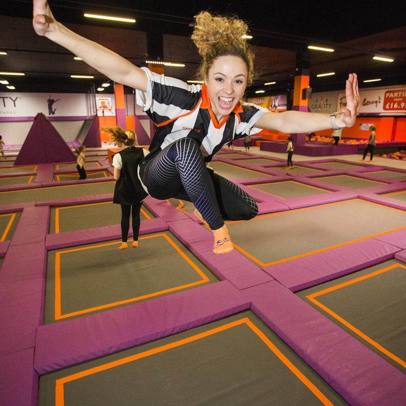 Gravity girl on trampoline