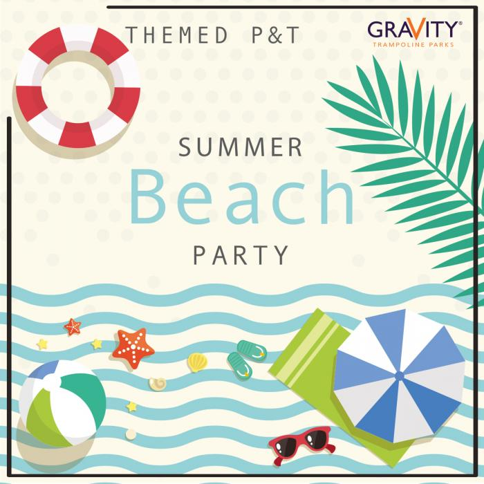 Beach party themed parent and toddler session at Gravity Trampoline Parks