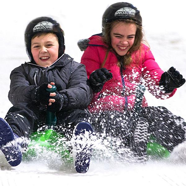 Sledging on real snow at Snozone Xscape Yorkshire Castleford